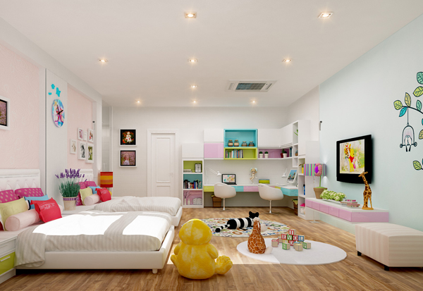 Thi công vách thạch cao TPHCM cho phòng ngủ bé gái